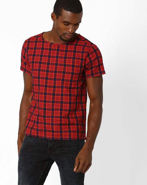Checked Slim Fit T-shirt By ADAMO LONDON ( Multi )