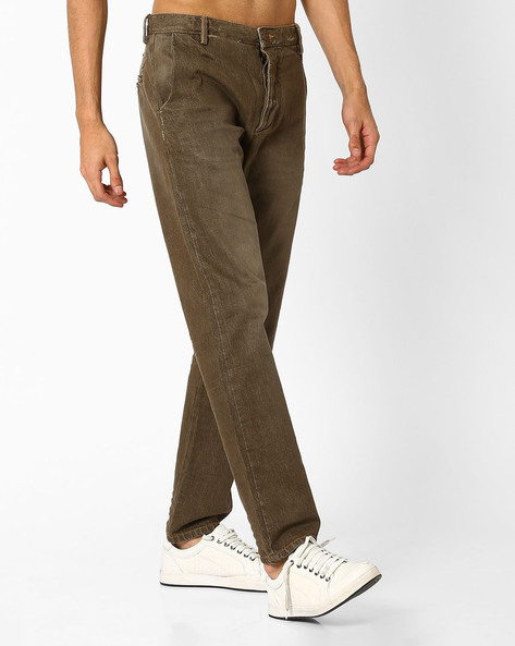 Mid-Rise Lightly Washed Jeans By VOI JEANS ( Brown )