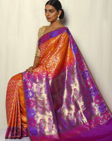 Patola Style Brocade South Silk Saree By Pretty Woman ( Yellow )