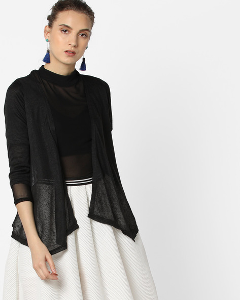 Open-Front Shrug With Asymmetric Hem By And ( Black )