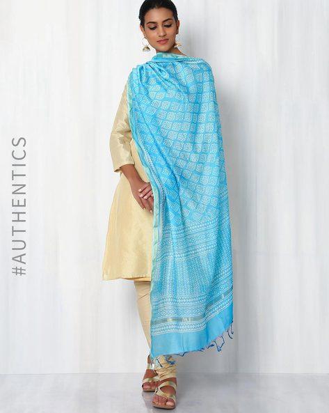 Bagru Printed Chanderi Dupatta By Indie Picks ( Lightblue ) - 460015856001
