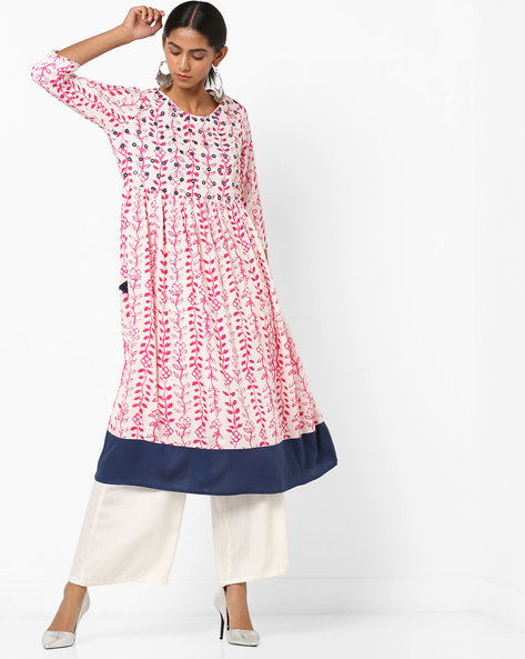 Printed Flared Kurta With Mirror Work By Melange By Lifestyle ( Pink )