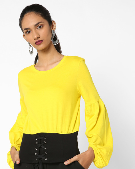Crew-Neck Top With Tie-Up By AJIO ( Yellow )