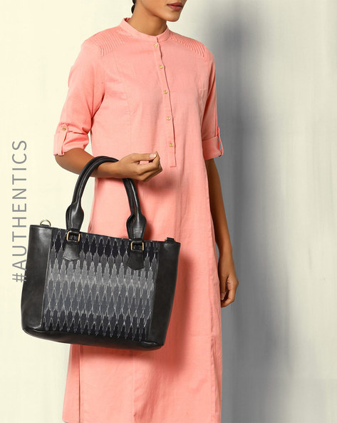 Handwoven Ikat Vegan Leather Tote Bag By A BIG INDIAN STORY ( Black )