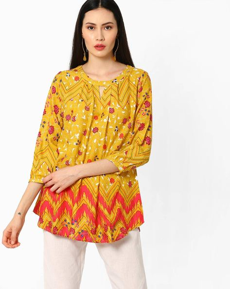 Top With Cut-Out By Global Desi ( Mustard )