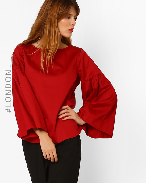 Cotton Top With Bell Sleeves By Closet London ( Red )