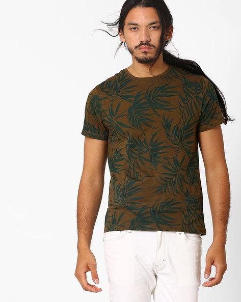 Leaf Print T-shirt By AJIO ( Olive )