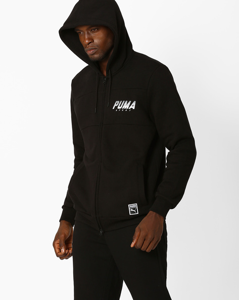 Zip-Front Jacket With Hood By Puma ( Black )