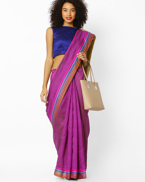 Mysore Silk Saree With Contrast Border By Florence ( Purple )