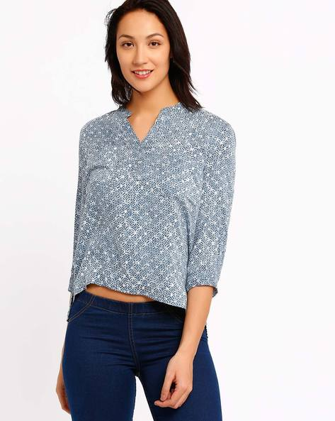 Printed High-Low Top By CHM ( Blue )