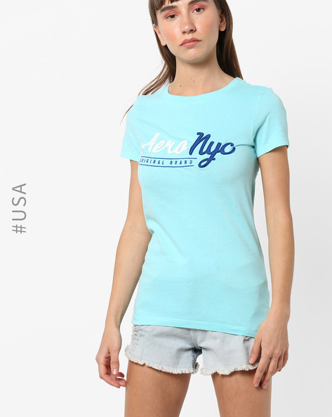 Cotton Crew-Neck T-shirt With Branding By Aeropostale ( Aqua )