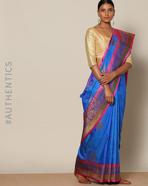 Pure Silk Banarasi Buta Antique Zari Saree By Rudrakaashe-MSU ( Blue )