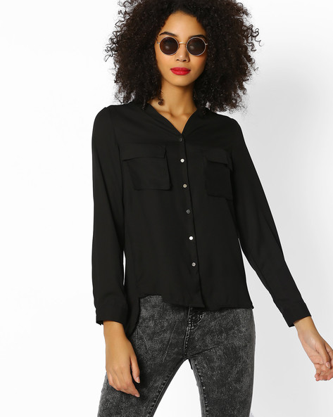 Shirt Top With Tulip Back By FIG ( Black )