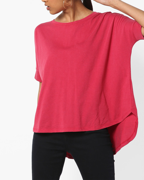 High-Low T-shirt With Dolman Sleeves By DNMX ( Red )