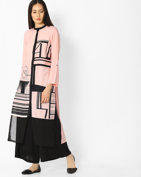 Printed Straight Kurta With Mandarin Collar By W ( Pink )