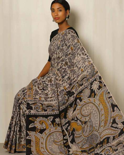 Kalamkari Print Cotton Saree By Indie Picks ( Grey )