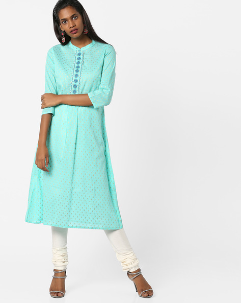 Printed A-line Kurta With Mandarin Collar By AJIO ( Turquoise )