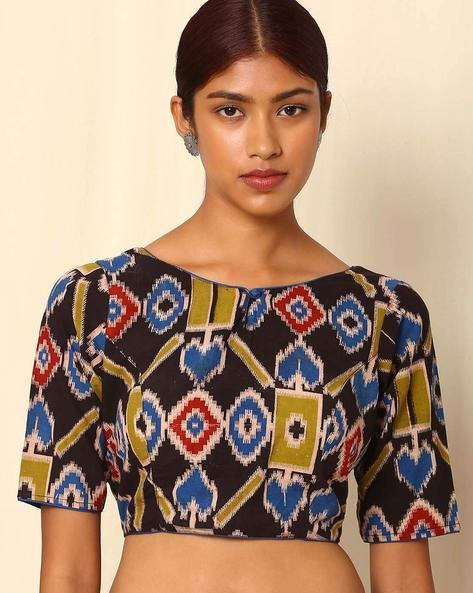 Kalamkari And Ikat Handblock Print Cotton Blouse By Indie Picks ( Multi )