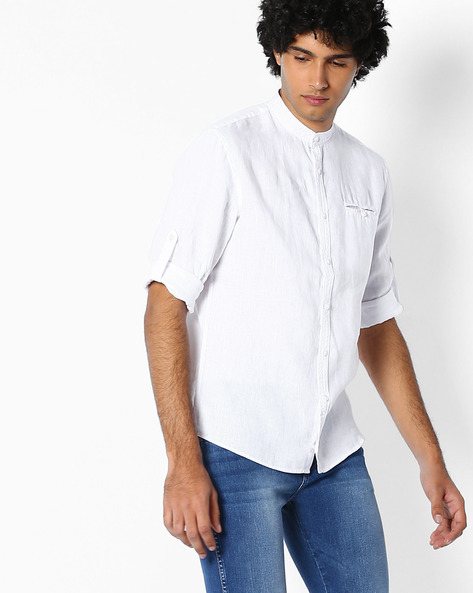 Pure Linen Shirt With Mandarin Collar By Celio ( White )
