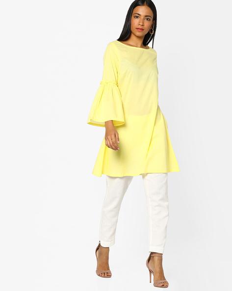 Sheath Dress With Circular Flounce Sleeves By AJIO ( Yellow )