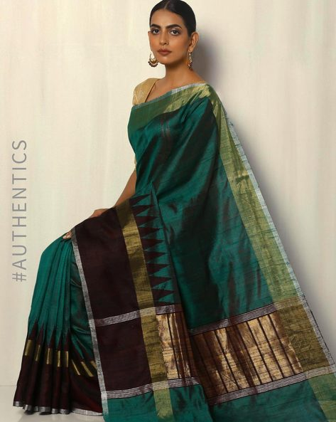 Handloom Pure Silk Dupion Saree With Temple Border By Pretty Woman ( Green )
