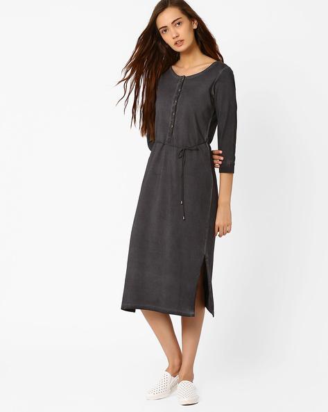 Knit Dress With Tie-Up By AJIO ( Grey )