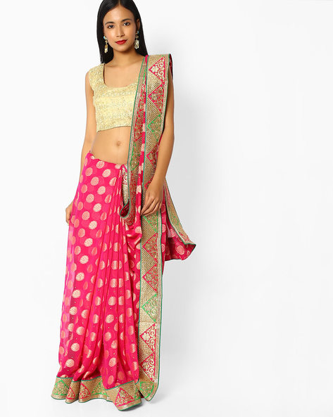 Viscose Embroidered Saree With Blouse By Majestic Silk ( Pink )