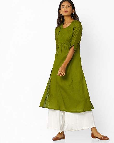 Flared Straight Kurta By Desi Weaves ( Olive )