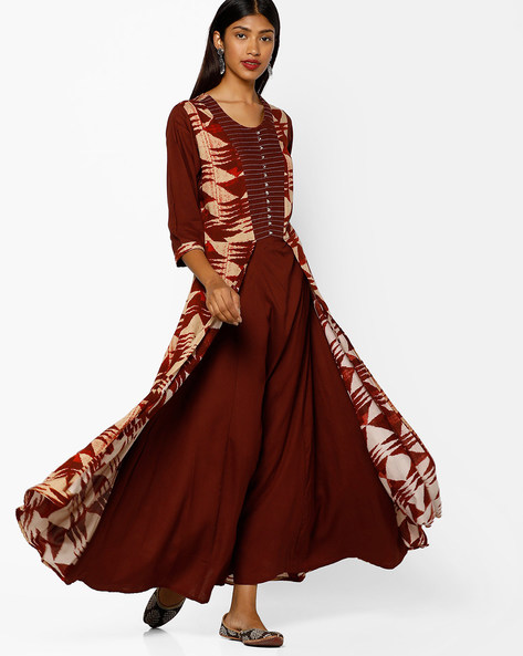 Printed Maxi Dress By Shree ( Brown )