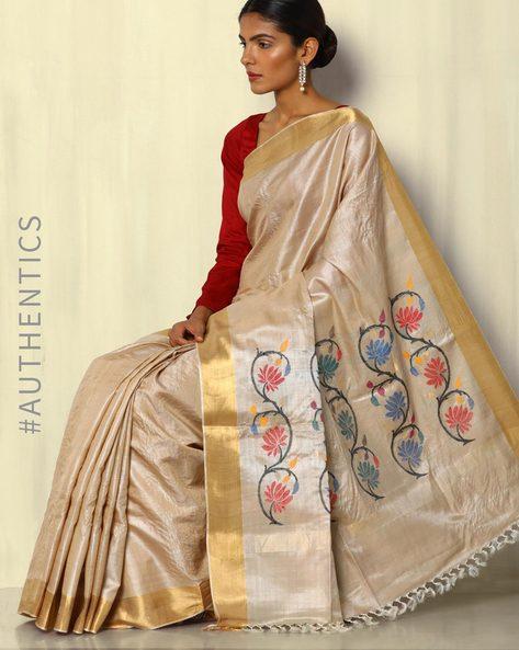 Pure Silk Tussar Handloom Saree With Zari Border By Pretty Woman ( Cream )
