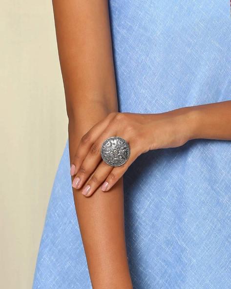Statement Oxidised Metal Ring By Indie Picks ( Silver )