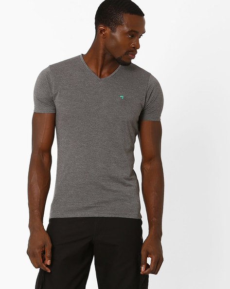 Slim Fit V-neck T-shirt By The Indian Garage Co ( Grey )