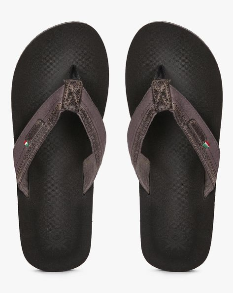 Flip-Flops With Micro Suede Upper By UNITED COLORS OF BENETTON ( Grey )