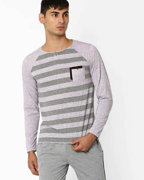 Striped Henley T-shirt With Raglan Sleeves By Fort Collins ( Lightgrey )