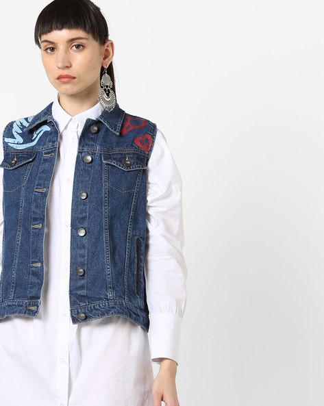Sleeveless Denim Jacket By AJIO ( Blue )