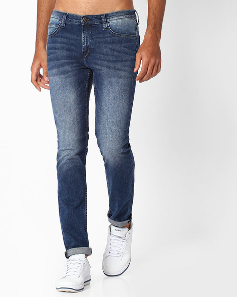 Lightly Washed Skinny Denims By Lee ( Blue )