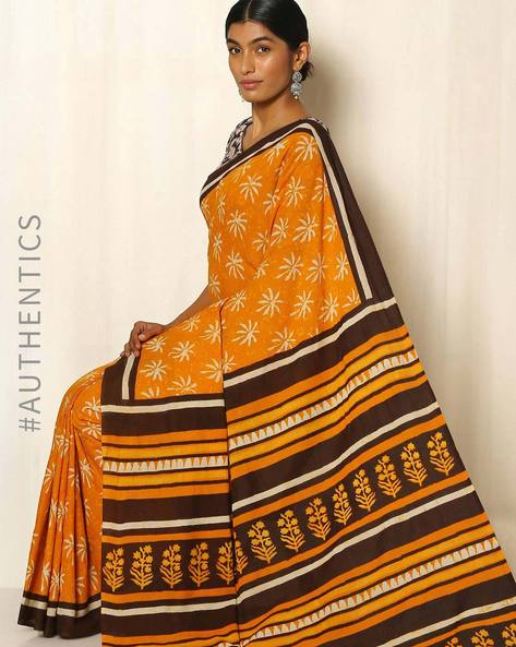 Bagru Handblock Print Cotton Saree By Indie Picks ( Orange )