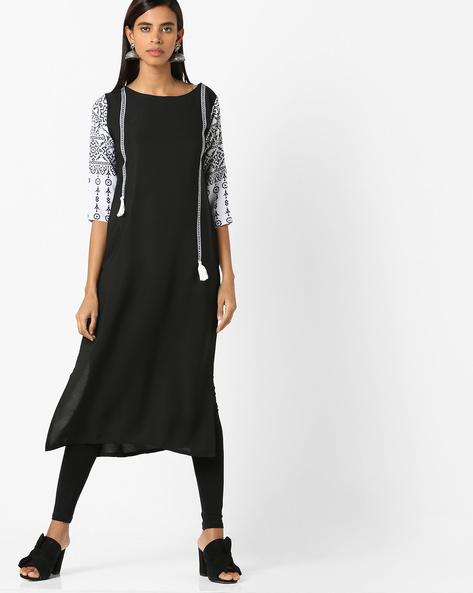 Straight Kurta With Printed Sleeves By Janasya ( Black )