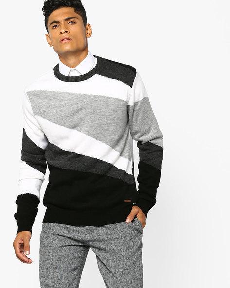Colourblock Cotton Pullover By AJIO ( Offwhite )