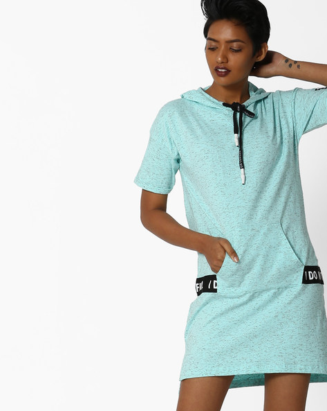 Hooded Tunic With High-Low Hem By Teamspirit ( Aqua )