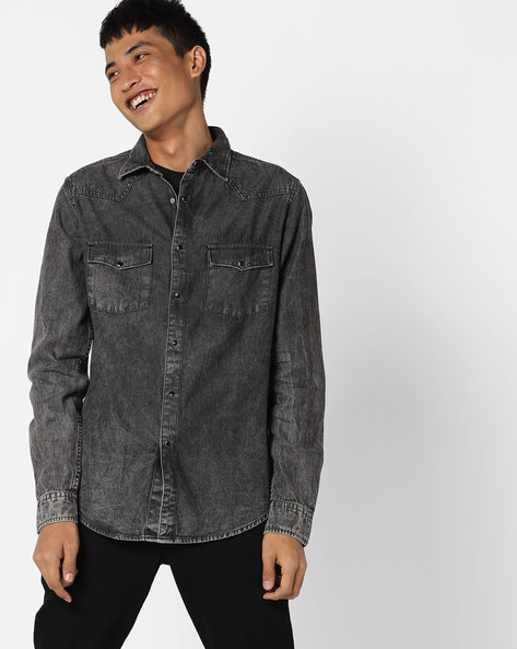 Cotton Shirt With Washed Effect By Blue Saint ( Lightgrey )