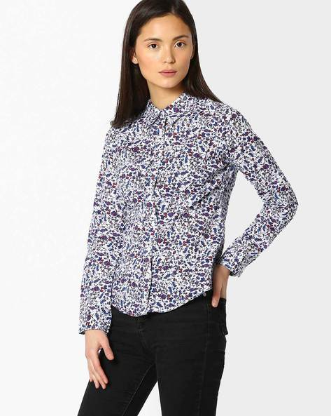 Floral Print Shirt With Roll-Tab Sleeves By DNMX ( White )