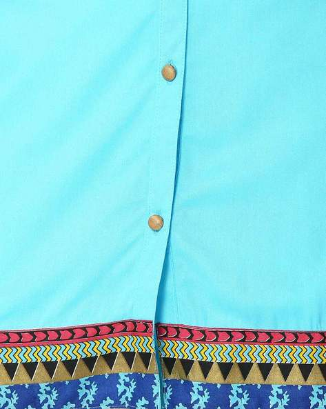 Mandarin Tunic With Printed Panels By Shree ( Turquoise )