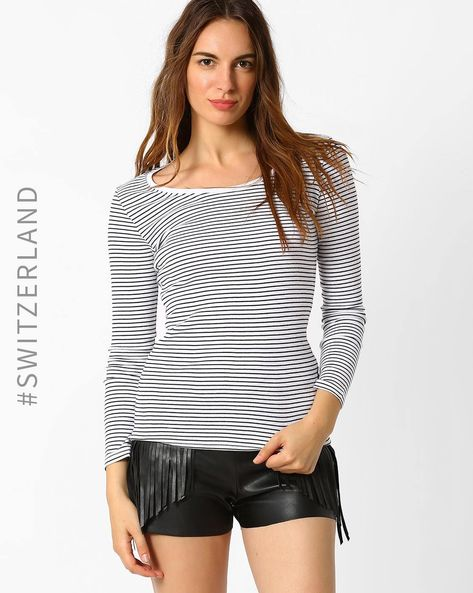 Striped Round-Neck T-shirt By TALLY WEiJL ( White )