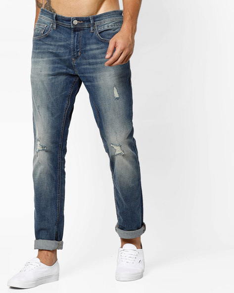 Lightly Distressed Mid-Rise Jeans By Tom Tailor ( Lightblue )