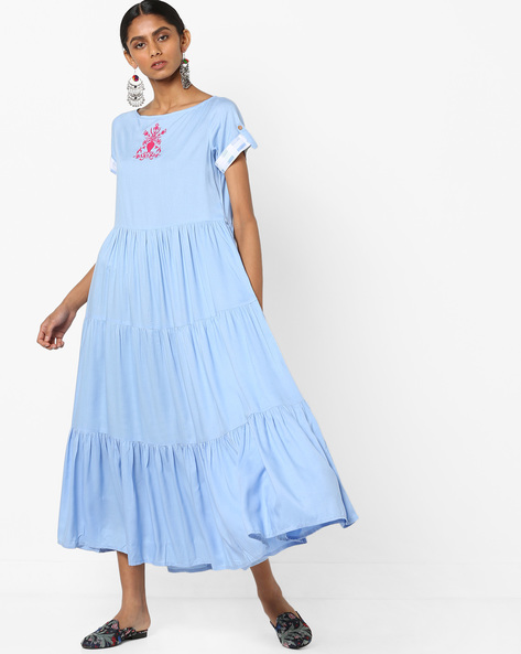 Embroidered Tiered Dress By AJIO ( Blue )