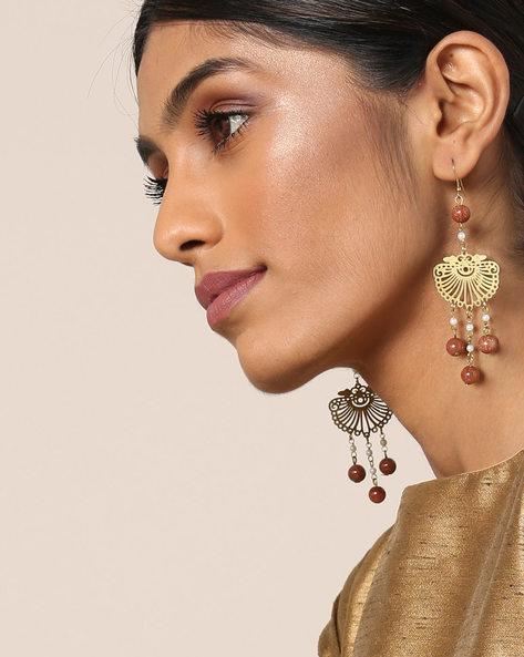 Gold-Plated Drop-Earrings With Cut Work By Courtyard ( Multi )