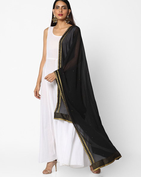 Dupatta With Contrast Taping By W ( Black )