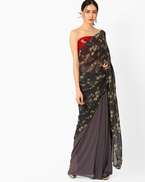 Printed Saree With Embroidered Blouse Piece By AJIO ( Charcoal )
