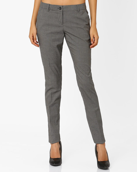 Slim Fit Trousers With Belt Loops By Annabelle By Pantaloons ( Charcoal )